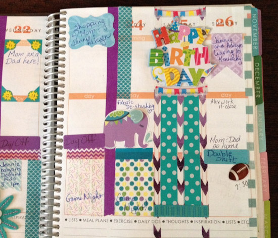 Over the top  3D embellishments Birthday  Erin Condren Life Planner  http://www.catheswanson.com