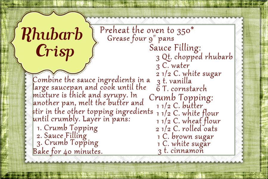 Rhubarb Crisp Recipe ~ Cathe Swanson